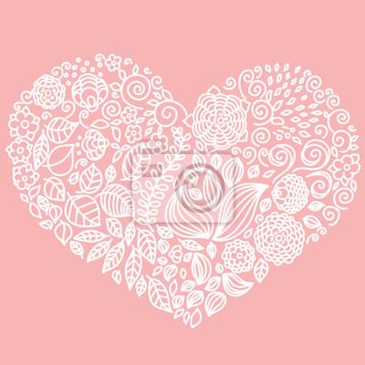 Tatouage, floral, doodle, vecteur, éléments, ensemble ...