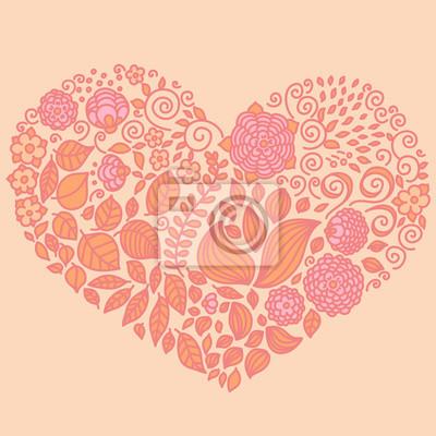 Tatouage floral doodle vecteur éléments mis en forme de coeur.