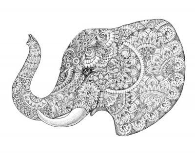 Sticker Tatouage profil éléphant avec des motifs et ornements