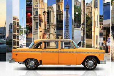 Sticker Taxi, couleur rétro voiture orange sur le fond blanc