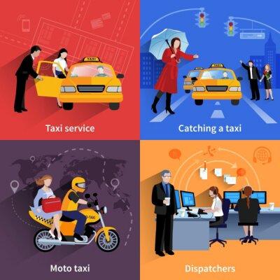 Sticker Taxi Service 2x2 Bannières Set