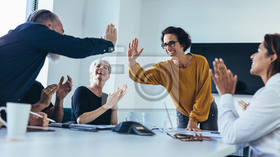 Sticker Team of professionals celebrating success