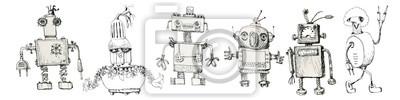 Sticker Team of robots. Vintage toys. Ink drawing.