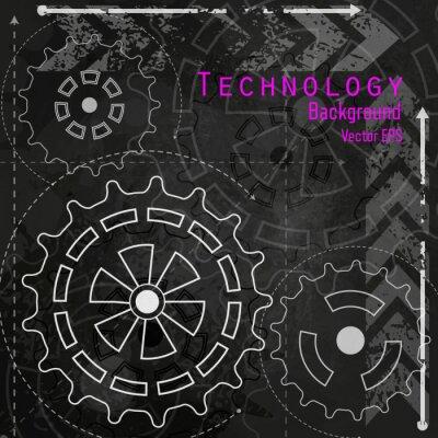 Sticker Technologie, fond, craie, planche