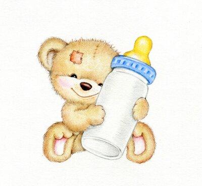Sticker Teddy bear avec une bouteille de lait
