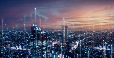 Sticker Telecommunication connections above smart city. Futuristic cityscape concept for internet of things (IoT), fintech, blockchain, 5G LTE network, wifi hotspot access, cyber security, digital technology
