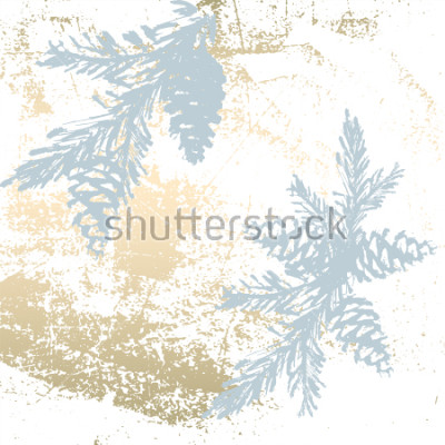 Sticker Tendance Chic Fond de couleur pastel avec des formes dorées et des silhouettes d'arbres de Noël. Abstraits textures inhabituelles pour papier peint, cartes de voeux, en-têtes, éléments de décor