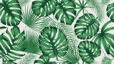 Sticker Tendance modèle tropical sans couture avec jungle de feuilles et de plantes exotiques