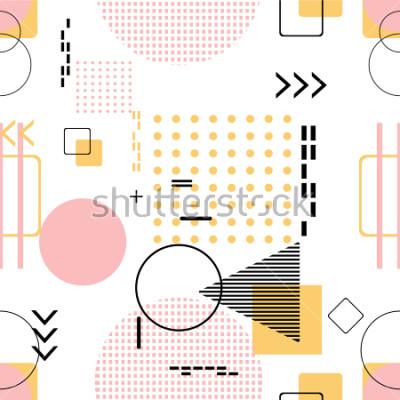 Sticker Tendance transparente, style Memphis avec motif géométrique, illustration vectorielle avec des figures géométriques. Arrière-plans de conception pour modèle d'invitation, de brochure et de promoti