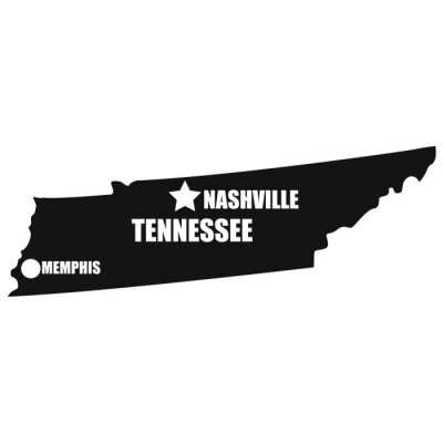 Tennessee map in black on a white background