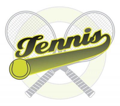 Sticker Tennis Avec Queue Banner est une illustration d'une conception de tennis avec le mot tennis avec une bannière de queue pour votre propre texte, balle de tennis et raquettes de tennis.