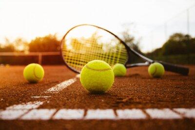 Sticker Tennis, balles, raquette, argile, tribunal