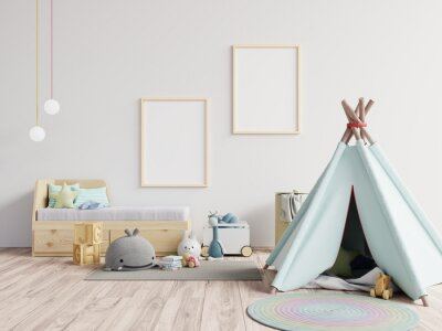 Sticker Tent With Toys Against Blank Picture Frames At Home