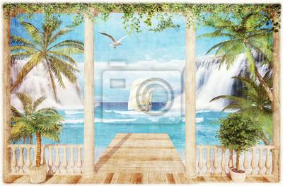 Sticker terrasse avec vue sur la mer