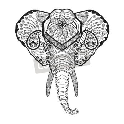 T te d l phant coloriage antistress pour adultes noir blanc stickers pc portable - Elephant indien dessin ...