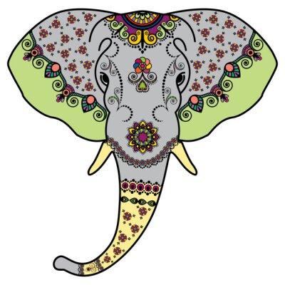 Sticker Tête d'éléphant de couleur dans le style indien de Mehndi. Vector illustration isolé sur fond blanc