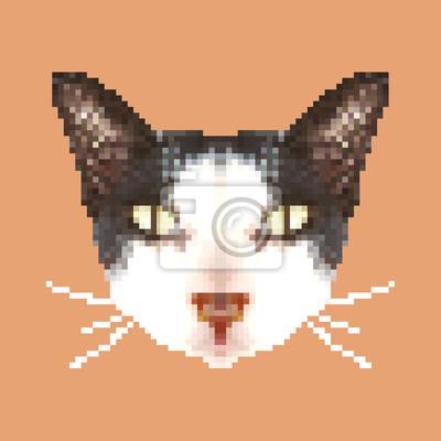 Sticker Tete De Chat Pixel Art Isole Carre Animal Vecteur Illustration