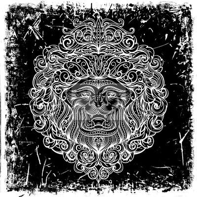 Sticker Tete De Lion Avec Lornement Abstrait Sur Fond Grunge Conception