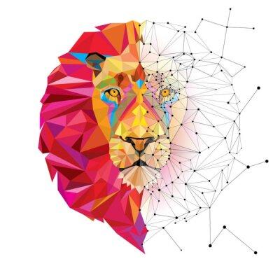 Sticker Tête de lion en motif géométrique avec le vecteur de ligne étoile