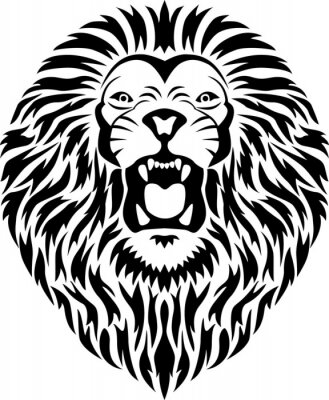 Sticker tête de lion tatouage