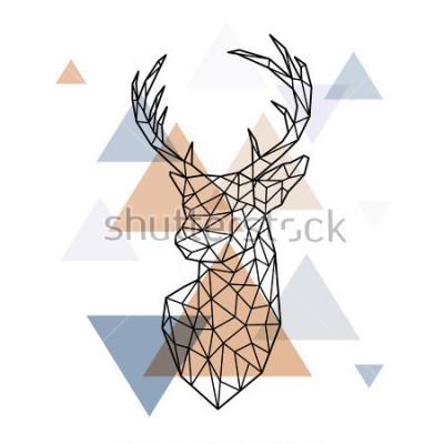 Sticker Tête géométrique du cerf scandinave. Style polygonal. Style scandinave.