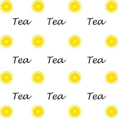 Texte, dessiné, thé, citron