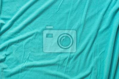 Sticker texture d'arrière-plan de tissu de coton froissé turquoise