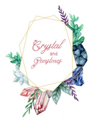 Sticker The beautiful Crystal and Gemstones of flower foliage leaves wreath frame bouquet Composition watercolor Gouache Hand Painted