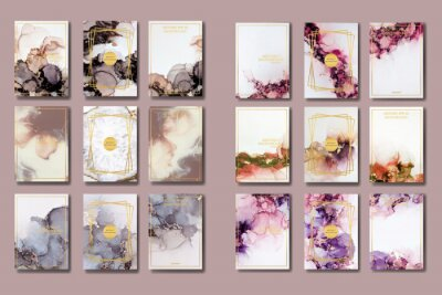 Sticker the big set of liquid marble with gold. flyer, business card, flyer, brochure, poster, for printing. trend vector