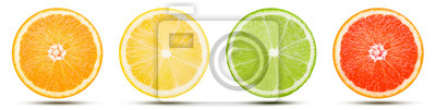 Sticker The collection of citrus fruit slice is cut into a sphere. Orange, Lemon, Lime, and Pink grapefruit with drop shadow isolated on white background. Commercial image with clipping path.
