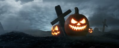 Sticker The dark night Halloween, Jack O Lantern on graveyard. 3d rendering