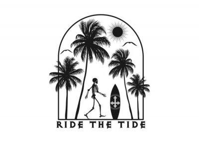 Sticker The skeleton ready to surf. Editable, vector illustration.