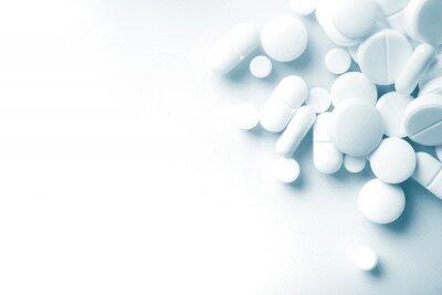 Sticker Thème de la pharmacie, la médecine blanche comprimés des pilules antibiotiques.