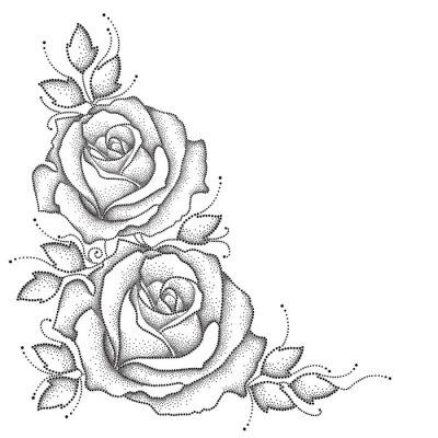 Sticker Tige, pointillé, rose, fleur, feuilles, isolé, blanc, fond Éléments floraux dans le style de pointwork.