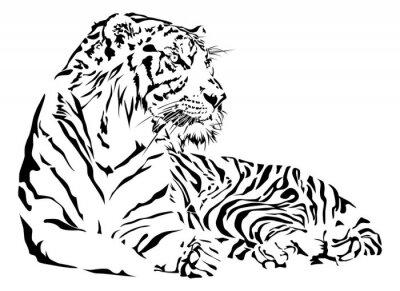 Sticker Tiger noir et blanc