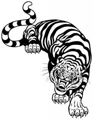 Sticker tigre blanc noir