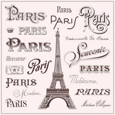Sticker tiré par la main de Paris éléments de conception