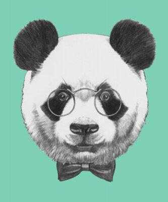Sticker Tiré par la main portrait de panda avec des lunettes et un nœud papillon. Vecteur isolé éléments.