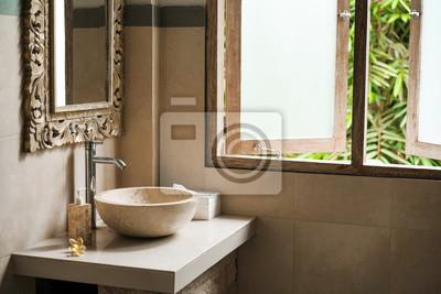 Superbe Sticker Toilettes Est Une Salle De Bain De La Pierre Dans Le Style Loft Des  îles