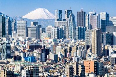 Sticker Tokyo en hiver avec Fujiyama en arrière-plan