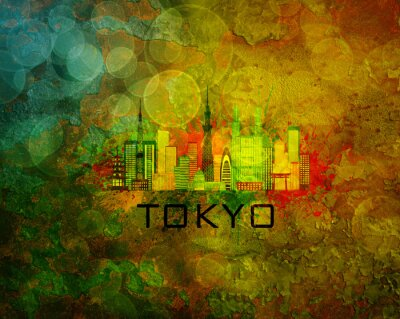 Sticker Tokyo, ville, Horizon, Grunge, fond, Illustration