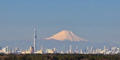 Sticker Tokyo vue de la ville avec Tokyo Sky Tree et Montagne Fuji