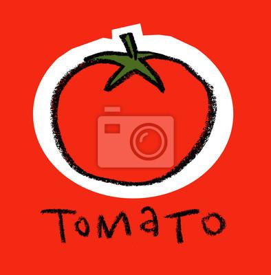 Tomate sur fond rouge