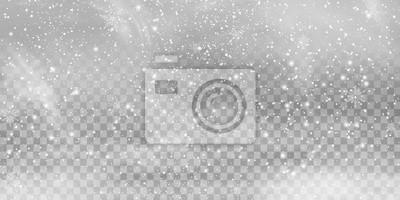 Sticker Tomber Noël Shining transparent belle, petite neige isolée sur fond transparent. Flocons de neige, fond de neige. chutes de neige abondantes, flocons de neige de différentes formes et formes.