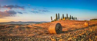 Sticker Toscane, paysage, ferme, maison, Coucher soleil, Val, Orcia, Italie