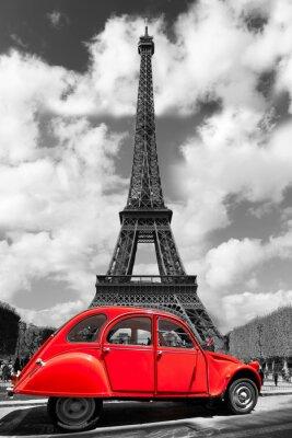 Sticker Tour Eiffel avec la vieille voiture rouge à Paris, France