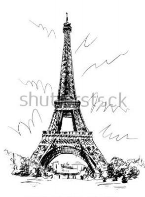Sticker Tour Eiffel dessinée au stylo et calque, calque, dessin à la main, Paris, France.