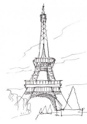 Sticker Tour Eiffel main croquis stylo doodle