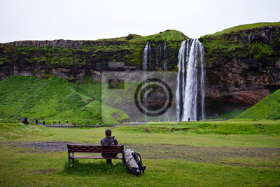 Tourist rest near the waterfall, Iceland