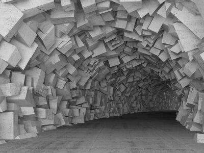 Sticker Tourner, concret, tunnel, intérieur, 3D, render